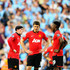 (L-R)Wayne Rooney, Michael Carrick and Danny Welbeck of Manchester United look dejected during the Barclays Premier League match between Manchester City and Manchester United at the Etihad Stadium on September 22, 2013 in Manchester, England.