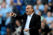 West Ham United Manager Avram Grant reacts during the Barclays Premier League match between Manchester City and West Ham United at the City of Manchester Stadium on May 1, 2011 in Manchester, England.