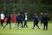 Jose Mourinho, Manager of Manchester United looks on as players participace during a training session ahead of their UEFA Champions League Group H match against Juventus at Aon Training Complex on October 22, 2018 in Manchester, England.