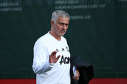Jose Mourinho, Manager of Manchester United arrives to the training session ahead of their UEFA Champions League Group H match against Juventus at Aon Training Complex on October 22, 2018 in Manchester, England.