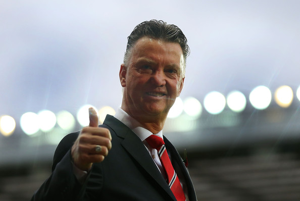 Manchester United Manager Louis van Gaal gives a thumbs up prior to the Barclays Premier League match between Manchester United and Chelsea at Old Trafford on October 26, 2014 in Manchester, England.