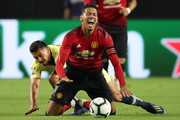 Chris Smalling #12 of Manchester United reacts during the International Champions Cup game against the Club America at the University of Phoenix Stadium on July 19, 2018 in Glendale, Arizona.