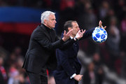 Jose Mourinho, Manager of Manchester United throws the ball during the Group H match of the UEFA Champions League between Manchester United and Juventus at Old Trafford on October 23, 2018 in Manchester, United Kingdom.