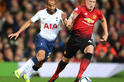 Lucas Moura of Tottenham Hotspur and Phil Jones of Manchester United in action during the Premier League match between Manchester United and Tottenham Hotspur at Old Trafford on August 27, 2018 in Manchester, United Kingdom.