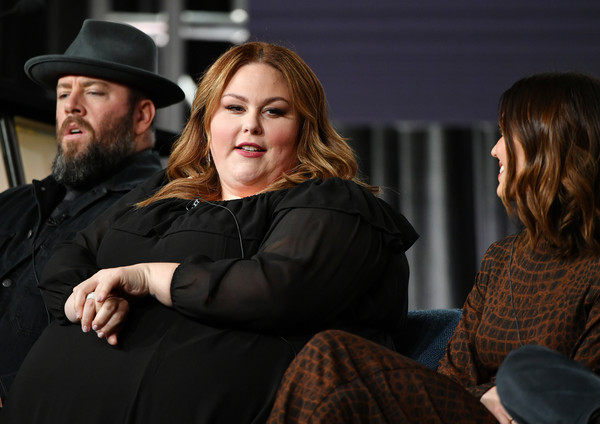 2020 Winter TCA Tour - Day 5 [this is us,conversation,interaction,fun,event,headgear,sitting,photography,flash photography,hat,performance,chris sullivan,mandy moore,chrissy metz,l-r,pasadena,california,winter tca,nbcuniversal,segment,chris sullivan,mandy moore,this is us,actor,livingly media,photograph,television,image]