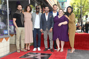 (L-R) Milo Ventimiglia, Mandy Moore, Sterling K. Brown, Jon Huertas, Justin Hartley, Chrissy Metz, and Susan Kelechi Watson attend a ceremony honoring Mandy Moore with a star on the Hollywood Walk Of Fame on March 25, 2019 in Hollywood, California.
