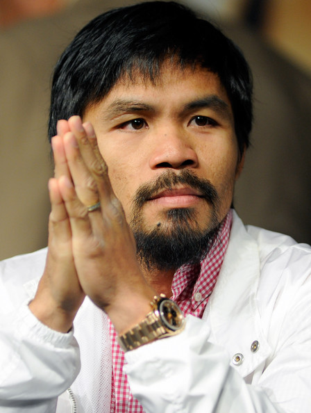 Boxer Manny Pacquiao appears during the final news conference for his bout against Timothy Bradley at the MGM Grand Hotel/Casino June 6, 2012 in Las Vegas, Nevada. Pacquiao will defend his WBO welterweight title against Bradley when the two meet in the ring on June 9 in Las Vegas.