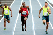 (L-R) Churandy Martina of the Netherlands, Usain Bolt of Jamaica and Ryan Bailey of the United States compete in the Mano a Mano Athletics Challenge at Jockey Club Brasileiro on April 19, 2015 in Rio de Janeiro, Brazil.