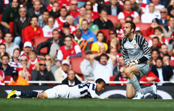 Manuel Almunia Manuel Almunia of Arsenal looks dejected as he fouls Peter Odemwingie of West Bromwich Albion for a penalty during the Barclays Premier League match between Arsenal and West Bromwich Albion at the Emirates Stadium on September 25, 2010 in London, England.