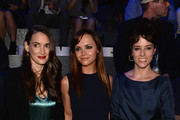 (L-R) Winona Ryder, Christina Ricci and Parker Posey attend the Marc Jacobs Spring 2014 fashion show at The New York State Armory, 68 Lexington on September 12, 2013 in New York City.