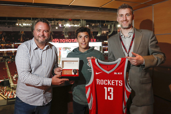 Tissot Brand Ambassador And Five-Time MotoGP World Champion Marc Marquez Takes The First Shot At Houston Rockets Game