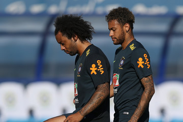 Marcelo Neymar Brazil Training And Press Conference