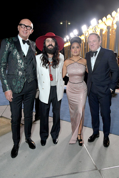 2019 LACMA Art And Film Gala Honoring Betye Saar And Alfonso Cuarón - Inside [event,fashion,suit,formal wear,tuxedo,dress,fashion design,ceremony,performance,fashion accessory,betye saar,alfonso cuar\u00f3n,salma hayek pinault,marco bizzarri,alessandro michele,l-r,fran\u00e3\u00a7,lacma,gucci,lacma art film gala]