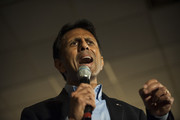 ANDOVER, MN- MARCH 1: Gov. Bobby Jindal (R-LA) introduces Republican presidential candidate Sen. Marco Rubio (R-Fla.) to a crowd of supporters Courtyards of Andover Event Center in Andover, MN. Rubio is hoping to win Minnesota in the Super Tuesday primary election.