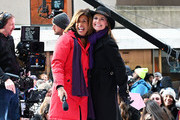 "Hosts Hoda Kotb (L) and Savannah Guthrie on NBC's ""Today"" at Rockefeller Plaza on March 8, 2019 in New York City."