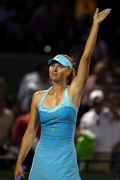 Maria Sharapova Maria Sharapova of Russia celebrates after she won her match against Petra Martic of Croatia during the Sony Ericsson Open at Crandon Park Tennis Center on March 24, 2011 in Key Biscayne, Florida.