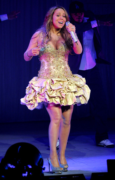 Mariah Carey Singer Mariah Carey performs at the Gibson Amphitheatre on February 23, 2010 in Universal City, California.
