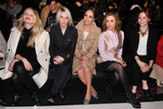 (L-R) Candice Lake, Cory Kennedy, Louise Roe and Alyssa Milano attend the Marissa Webb fashion show during Mercedes-Benz Fashion Week Fall 2014 at The Salon at Lincoln Center on February 6, 2014 in New York City.