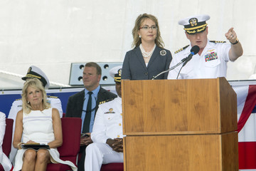 Mark Kelly Commissioning Ceremony Held For The USS Gabrielle Giffords
