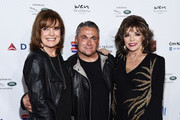 (L-R) Linda Gray, Mark Zunino and Dame Joan Collins arrive at a cocktail reception benefiting The Elizabeth Taylor AIDS Foundation at the Mark Zunino Atelier on November 07, 2019 in Beverly Hills, California.