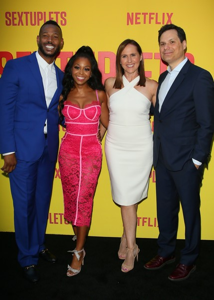 Premiere Of Netflix's 'Sextuplets' - Arrivals [premiere,suit,event,yellow,dress,fashion,cocktail dress,carpet,formal wear,flooring,arrivals,sextuplets,marlon wayans,molly shannon,michael tiddes,bresha webb,arclight hollywood,netflix,premiere,premiere]