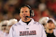Head coach Randy Edsall of the Maryland Terrapins looks on from the sidelines during the second half of the the 2013 Military Bowl against the Marshall Thundering Herd at Navy Marine Corps Memorial Stadium on December 27, 2013 in Annapolis, Maryland. Marshall won 31-20.