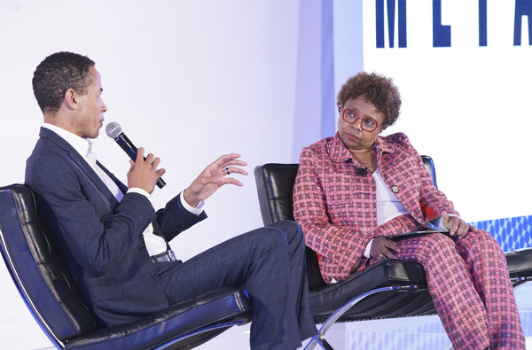 META Convened By BET [sitting,businessperson,conversation,footwear,event,white-collar worker,adaptation,business,company,shoe,charles phillips,marva smalls,global head of inclusion strategy,california,los angeles,meta,bet,infor,viacom,milk studios]