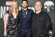 "Deborah Ann Woll, Ben Barnes, and Jeph Loeb arrive at Marvel's ""The Punisher"" Los Angeles Premiere at ArcLight Hollywood on January 14, 2019 in Hollywood, California."