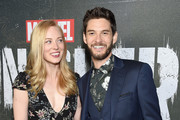 "Deborah Ann Woll and Ben Barnes arrive at Marvel's ""The Punisher"" Los Angeles Premiere at ArcLight Hollywood on January 14, 2019 in Hollywood, California."