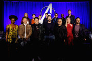 """(front L-R) Danai Gurira, Jeremy Renner, Director Anthony Russo, Chris Evans, Director Joe Russo, Brie Larson and Mark Ruffalo, (back L-R) Karen Gillan, Paul Rudd, Scarlett Johansson, President of Marvel Studios/Producer Kevin Feige, Robert Downey Jr., Don Cheadle and Chris Hemsworth onstage during Marvel Studios' """"Avengers: Endgame"""" Global Junket Press Conference at the InterContinental Los Angeles Downtown on April 7, 2019 in Los Angeles, California."""