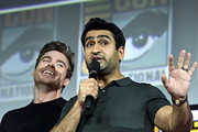 Richard Madden and Kumail Nanjiani of Marvel Studios' 'The Eternals' at the San Diego Comic-Con International 2019 Marvel Studios Panel in Hall H on July 20, 2019 in San Diego, California.