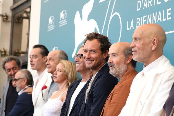 'The New Pope' Photocall - The 76th Venice Film Festival [the new pope,event,community,businessperson,management,employment,tourism,team,white-collar worker,company,job,paolo sorrentino,massimo ghini,ludivine sagnier,jude law,maurizio lombardi,photocall,l-r,photocall,the 76th venice film festival]