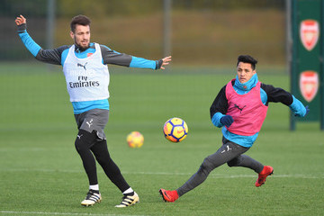 Mathieu Debuchy Arsenal Training Session