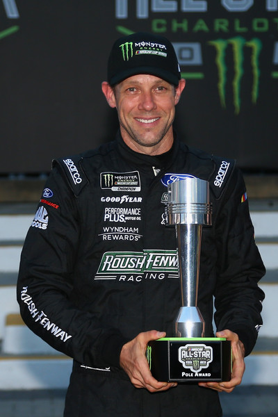 Matt Kenseth, driver of the #6 DoYouKnowJack Ford, poses for a photo after winning the pole award during qualifying for the Monster Energy NASCAR Cup Series All-Star Race at Charlotte Motor Speedway on May 18, 2018 in Charlotte, North Carolina.