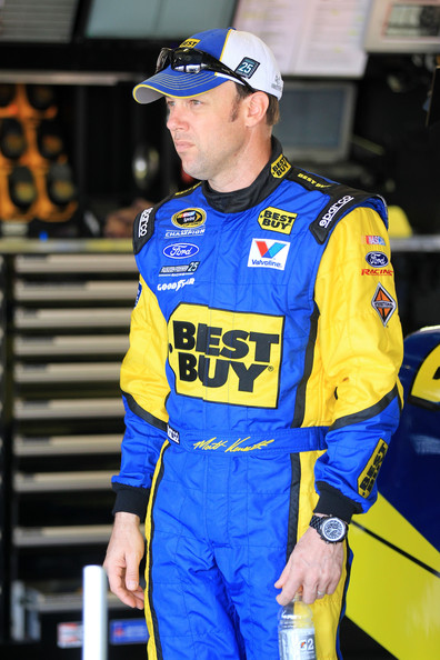 Matt Kenseth, driver of the #17 Best Buy Ford, stands in the garage during practice for the NASCAR Sprint Cup Series Daytona 500 at Daytona International Speedway on February 24, 2012 in Daytona Beach, Florida. (February 23, 2012 - Source: Matthew Stockman/Getty Images North America)