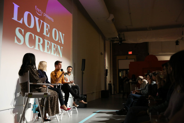 Fire TV Presents: Love on Screen Panel And Screening Event At 'The Museum of Modern Love' [fire tv presents: love on screen panel screening event,the museum of modern love,fashion,design,human,event,adaptation,architecture,fashion design,performance,brand,city,matt rogers,candace bushnell,sade strehlke,justin mcleod,l-r,museum of modern love,new york city]