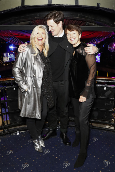 National Youth Theatre Fundraising Evening [fashion,event,leather jacket,fun,textile,luxury vehicle,jacket,outerwear,nightclub,photography,dawn airey,jacquie lawrence,matt smith,l-r,cafe royal,england,london,getty images,national youth theatre fundraising evening,national youth theatre fundraising]