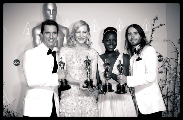An Alternative Look At The 86th Annual Academy Awards [image,best performance by an actor in a leading role,photograph,social group,event,snapshot,black-and-white,photography,fun,ceremony,monochrome,monochrome photography,winner,actors,matthew mcconaughey,filters,l-r,best performance by an actress in a leading role,alternative look at the 86th annual academy awards,best performance by an actress in a supporting role]