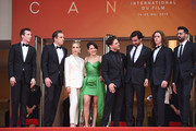 "(L-R) Pier-Luc Funk, Antoine Pilon, Nancy Grant, Catherine Brunet, Xavier Dolan, Gabriel D'Almeida Freitas, Samuel Gauthier and Adib Alkhalidey attend the screening of ""Matthias Et Maxime (Matthias and Maxime)"" during the 72nd annual Cannes Film Festival on May 22, 2019 in Cannes, France."