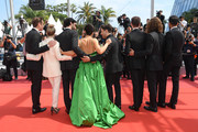 "(L-R) Antoine Pilon, Nancy Grant, Gabriel D'Almeida Freitas, Catherine Brunet, Xavier Dolan, Pier-Luc Funk, Samuel Gauthier, and Adib Alkhalidey attend the screening of ""Matthias Et Maxime (Matthias and Maxime)"" during the 72nd annual Cannes Film Festival on May 22, 2019 in Cannes, France."