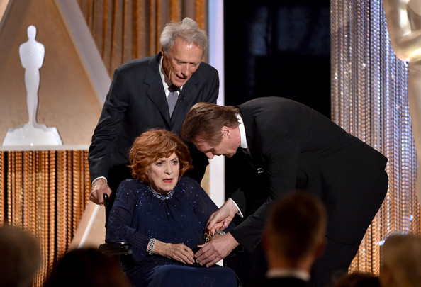 Academy Of Motion Picture Arts And Sciences' Governors Awards - Show [event,suit,white-collar worker,conversation,formal wear,ceremony,gesture,maureen o\u00e2 hara,actors,liam neeson,front,award,honorary award,hollywood highland center,academy of motion picture arts and sciences,governors awards,show]