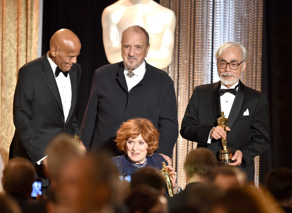 Academy Of Motion Picture Arts And Sciences' Governors Awards - Show [event,suit,formal wear,white-collar worker,award,conversation,honorees,hayao miyazaki,maureen ohara,jean-claude carriere,front,l-r,hollywood highland center,academy of motion picture arts and sciences,governors awards,show]