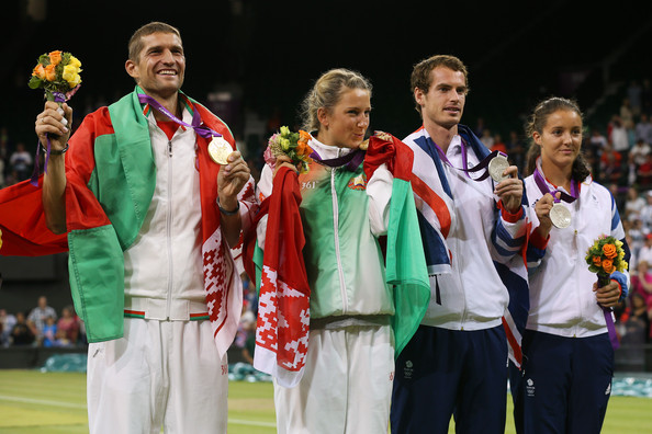 Olympics Day 9 - Tennis [championship,event,silver medal,medal,team,competition event,sport venue,gold medal,sports,performance,gold medalists,victoria azarenka,silver medalists,max mirnyi,tennis,medals,belarus,great britain,olympics,medal ceremony]