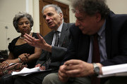 """Former U.S. presidential candidate Ralph Nader (C) speaks as Rep. Joyce Beatty (D-OH) (L) listens during a discussion June 28, 2013 on Capitol Hill in Washington, DC. Rep. Maxine Waters (D-CA) held the discussion on """"A Way Forward For Housing Finance Reform: Finding Sustainable Solutions to Ensure Access, Affordability, and Taxpayer Protection Part II."""""""