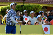 Ryo Ishikawa of Japan on the first tee during the final of the Maybank Championship Malaysia at Saujana Golf and Country Club on February 4, 2018 in Kuala Lumpur, Malaysia.