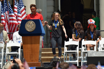 Mayor Bill de Blasio New York City Holds Ticker Tape Parade For World Cup Champions U.S. Women's Soccer National Team