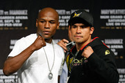 Boxers Floyd Mayweather Jr. (L) and Juan Manuel Marquez pose during their final news conference at the MGM Grand Hotel/Casino September 16, 2009 in Las Vegas, Nevada. The two will fight at the MGM Grand Garden Arena on September 19 in Las Vegas.