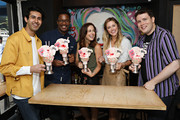 Cheech Manohar, Rick Younger, Erika Henningsen, Taylor Louderman and Grey Henson of MEAN GIRLS on Broadway attend the Mean Girls CrazyShake launch at Black Tap Craft Burgers and Beer in Midtown on September 12, 2018 in New York City.