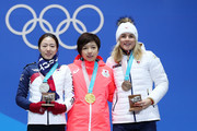 (L-R) Silver medalist Sang-Hwa Lee of Korea, gold medalist Nao Kodaira of Japan and bronze medalist Karolina Erbanova of the Czech Republic celebrate during the medal ceremony for Speed Skating - Ladies' 500m on day 11 of the PyeongChang 2018 Winter Olympic Games at Medal Plaza on February 20, 2018 in Pyeongchang-gun, South Korea.