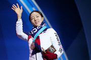 Silver medalist Sang-Hwa Lee of Korea celebrates during the medal ceremony for Speed Skating - Ladies' 500m on day 11 of the PyeongChang 2018 Winter Olympic Games at Medal Plaza on February 20, 2018 in Pyeongchang-gun, South Korea.